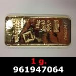 Réf. 961947064 1 gramme d\'or pur (Lingot LSP)  Issu d un lingot good delivery de 1 kilo - REVERS