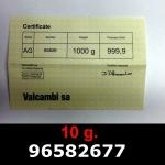 Réf. 96582677 10 grammes d\'or pur (LSP)  Issu d un lingot good delivery de 1 kilo - REVERS