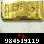 Réf. 984519119 1 gramme d\'or pur (Lingot LSP)  Issu d un lingot good delivery de 1 kilo - REVERS