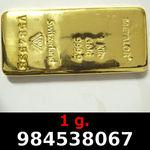 Réf. 984538067 1 gramme d\'or pur (Lingot LSP)  Issu d un lingot good delivery de 1 kilo - REVERS