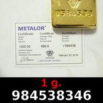 Réf. 984538346 1 gramme d\'or pur (Lingot LSP)  Issu d un lingot good delivery de 1 kilo - REVERS
