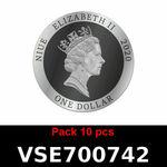 Réf. VSE700742 Lot 10 Vera Silver 1 once (Cours Légal - LSP)  Elizabeth II - Niue - REVERS